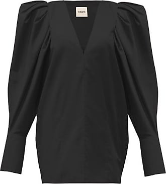 Khaite Connie V-neck Puff-sleeve Cotton Blouse - Womens - Black