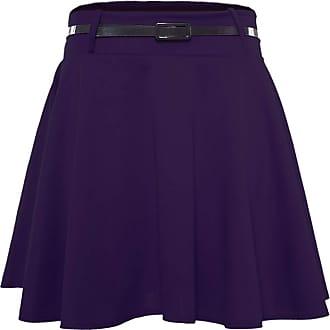 Be Jealous Womens Plain Belted Flippy Flared Skater Skirt Purple Plus Size (UK 24/26)