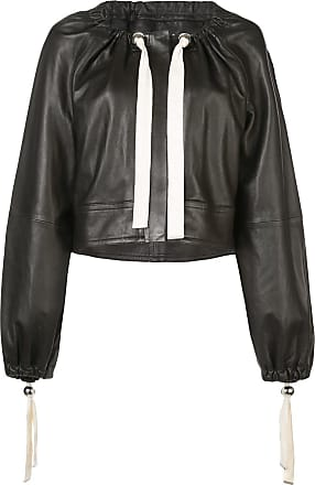 Yigal AzrouËl ruched neck leather jacket - Black