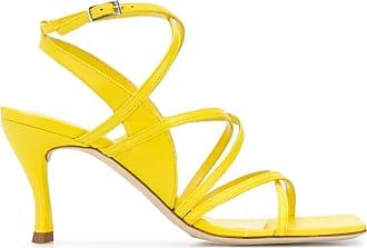 by FAR Sandália bico quadrado com salto 90mm - Amarelo