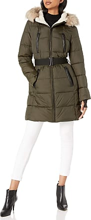 French Connection Womens Belted Zip-Front Puffer with Faux-Fur Hood Down Alternative Coat, Dark Moss, Medium