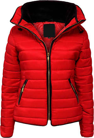 Parsa Fashions Malaika Ladies Quilted Padded Puffer Bubble Fur Collar Warm Thick Womens Jacket Coat - Avaiable in PLUS SIZES (Extra Small to XXL) (XXXXX-Large, Red)