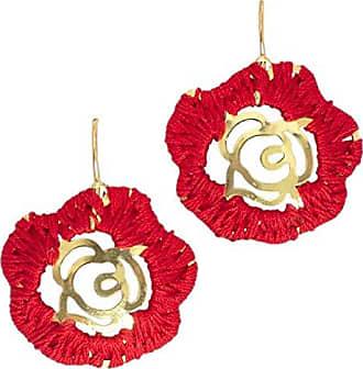 Tinna Jewelry Brinco Dourado Flor Merce Crochê (Vermelho)