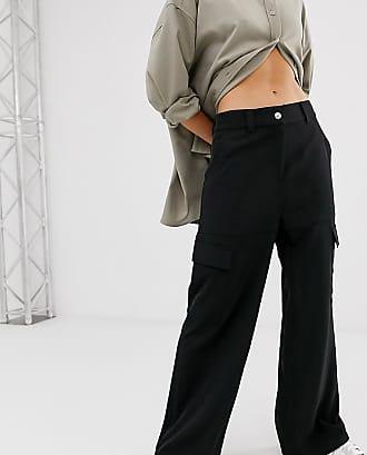 Weekday wide leg cargo trousers in black