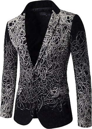 ZongSen Mens Business Blazer Fit Trim Formal Dinner Coat Disk Flowers Jacket Black XXXL