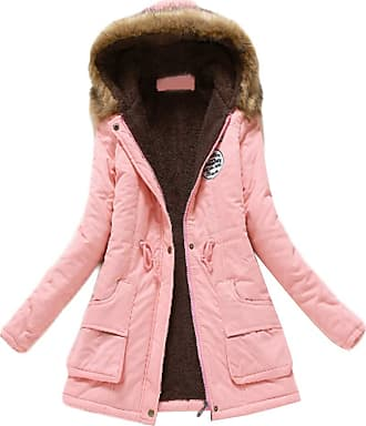 Inlefen Womens Winter Long Sleeve Solid Color Slim fit Coat Retro Warm Zip Hooded Jacket with Pocket Pink 3XL