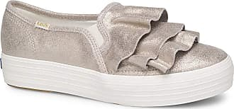 Keds Womens Triple Ruffle Glitter Suede Sneakers Silver 4 UK