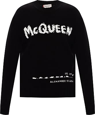Alexander McQueen Knitted Sweater With Logo Mens Black