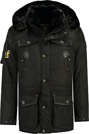 Geographical Norway Acore Mens Fleece Parka Coat with Fur Hood - Black - Large