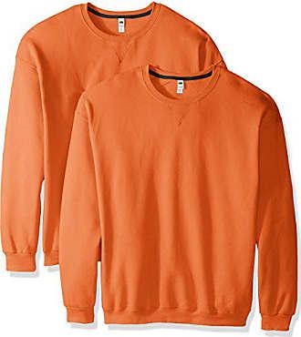 Fruit Of The Loom Mens Crew Sweatshirt (2 Pack), Orange Sherbet, Medium