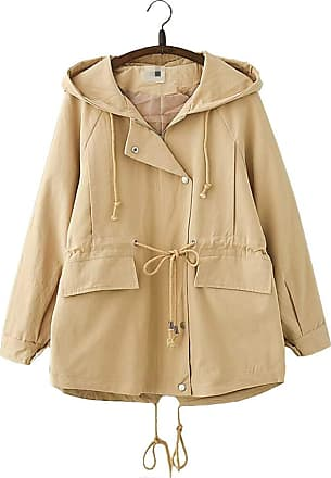 Vdual Korean Spring Hooded Loose Middle Long Coat for Women Khaki