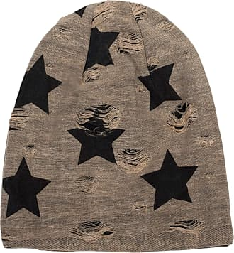 styleBREAKER Beanie hat with Stars and Vintage Points Pattern, Unisex 04024046, Color:Brown