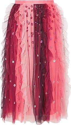Needle & Thread Rainbow Embellished Tulle Midi Skirt - Burgundy