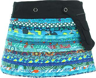 Loud Elephant Reversible Popper Wrap Childrens Size Mini Skirt - Blue Patch Strips/Diamond Block