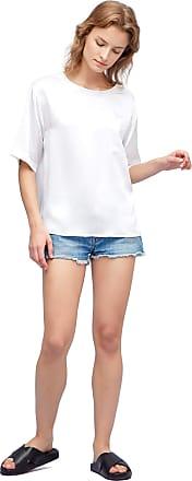LilySilk Comfy 100% Silk Shirt Pullover Round Neck Basic Womens Summer Tee XS, White