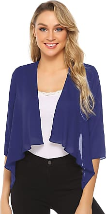 Abollria Womens Shrugs Summer Sheer Chiffon 3/4 Sleeve Open Front Bolero Cardigan Blue