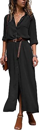 Yidarton Womens Chiffon Maxi Shirt Dress Roll up Sleeve Split Button Down Casual Long Dresses (Black, XL)