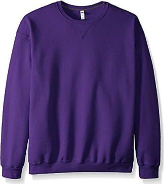 Fruit Of The Loom Mens Fleece Crew Sweatshirt, Purple, XXX-Large