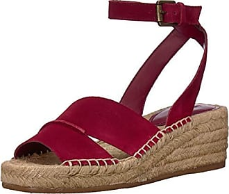 Nine West Womens EDWISHA Suede Wedge Sandal, Wine, 11 M US