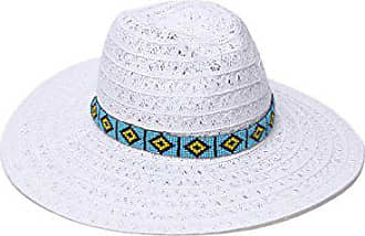 ále by Alessandra Womens Carico Lace Weave Toyo Hat With Beaded Band, White, One Size