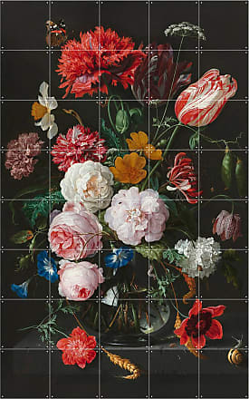 Ixxi Wandpuzzle STILL LIFE WITH FLOWERS - ROT/ ROSA/ WEISS
