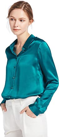 LilySilk Womens 100 Charmeuse Silk Blouse for Lady Long Sleeve Top 22 Momme Pure Silk Dark Teal Size 20-22/XXL