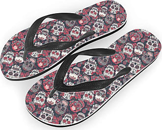 Coloranimal Vintage Punk Skulls Printed T Strap Flip Flops Comfortable Breathable Non Slipi Rubber Sole Sandals for Women Ladies