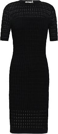 T Alexander Wang Alexanderwang.t Woman Paneled Pointelle And Ribbed-knit Dress Black Size S