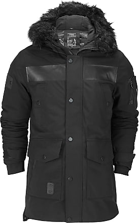 Generic Mens Heavy Weight Black Fur Trimmed Hooded Parka Jacket Padded Winter Warm Waterproof Coat[8352,2XL,Black]