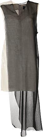 Yang Li Vestido com recorte contrastante - Preto