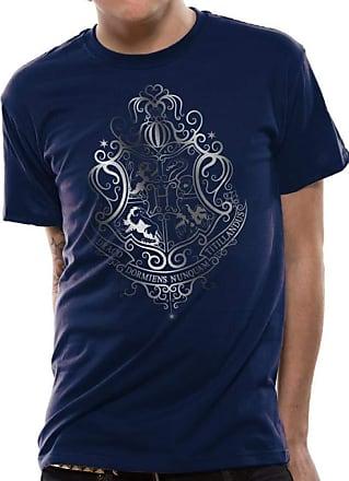 Harry Potter Mens Silver Foil Crest T-Shirt, Blue (Navy), XX (Size Ex Large)
