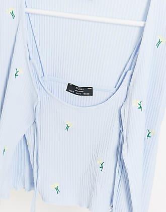 Bershka Trägershirt und Strickjacke in Blau mit Blumen bestickt, Kombiteil