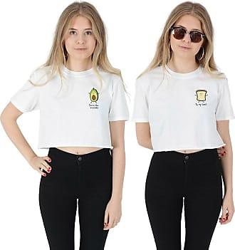 Sanfran Clothing Sanfran - Youre The Avocado to My Toast Pocket Set Matching BFFs Vegan Crop Top Shirt - Medium & Small/White