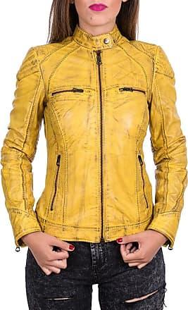 Leather Trend Italy G63 - Giacca Donna in Vera Pelle colore Giallo Tamponato