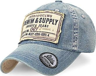 Ililily Washed Cotton Denim Embroidered Patch Vintage Trucker Hat Baseball Cap, Medium Blue