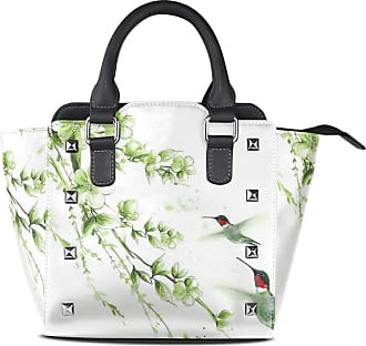 NaiiaN Shoulder Bags Tote Bag Handbags Purse Shopping Leather Watercolor Hummingbird Flower Graduation Light Weight Strap for Women Girls Ladies Student