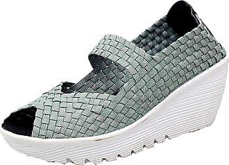 Insun Womens Woven Slip On Wedge Shoes Gray UK 3.5