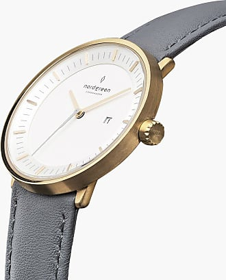 Nordgreen Philosopher - Gold | Grey Leather - 36mm / Gold