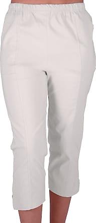 Eyecatch Cora Ladies Stretch Capri Crop Shorts Pedal Pushers Pants Womens 3/4 Cropped Trousers White Size 20