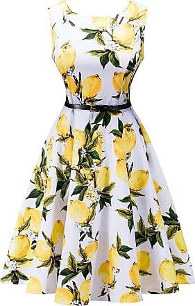 Generic Sanwood Women Vintage Sleeveless Summer Flower Print Soft Cotton Flared Dress with Free Belt (S, Lemon)