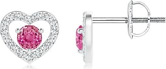 Angara Valentine Day Sale - Solitaire Pink Sapphire Open Heart Studs with Diamonds