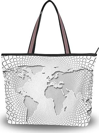 Lorona Women Web Networking Earth Continents Canvas Shoulder Hand Bag Large Capacity Tote Bag