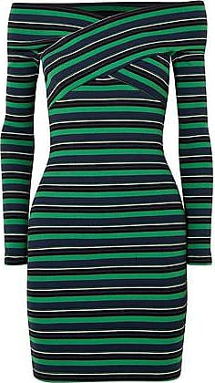 Opening Ceremony Opening Ceremony Woman Off-the-shoulder Striped Ribbed Stretch-cotton Mini Dress Green Size XS