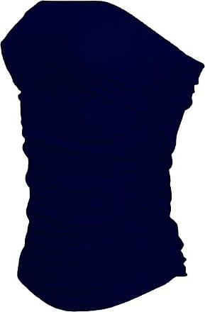 Janisramone New Ladies Womens Side Ruched Strappless Boobtube Bandeau Bra Crop Top Plus Size 8-26 (M/L (UK 12/14), Navy)