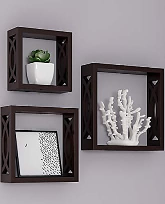 Trademark Lavish Home Floating Shelves- Open Cube Wall Shelf Set with Hidden Brackets, 3 Sizes to Display Decor, Photos, More-Hardware Included (Dark Brown)