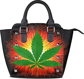 NaiiaN Leather Floral With Marijuana Leaf Cannabis Lake Purse Shopping Light Weight Strap Handbags Tote Bag for Women Girls Ladies Student Shoulder Bags