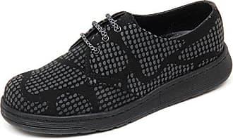 ce1286eb888e79 Dr. Martens Dr.Martens Womens Cavendish 3 Eyelet Reflective Snake Black  Nubuck Shoes 37