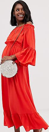 Asos Maternity ASOS DESIGN Maternity off shoulder maxi dress in crinkle-Red