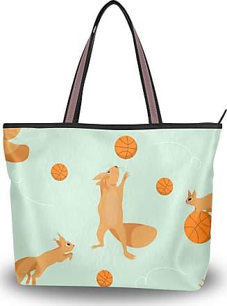 Lorona Women Playful Squirrels Pattern Canvas Shoulder Hand Bag Large Capacity Tote Bag