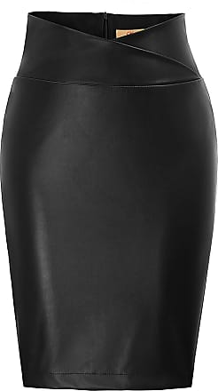 Grace Karin Slim Fit Midi Skirt for Women Summer Faux Leather Wrap Waist Vintage Party Casual Work Skirt Black S